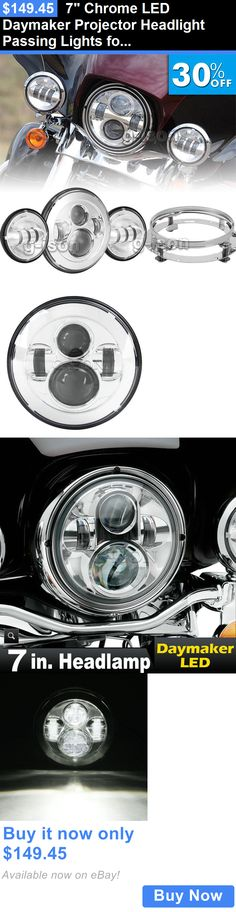 motorcycle parts: 7 Chrome Led Daymaker Projector Headlight Passing Lights For Harley Davidson BUY IT NOW ONLY: $149.45