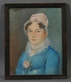 American School, Early 19th Century Portrait of a Young Woman in a Blue Gown Adorned with a Pink Rose. | Sale Number 2669M, Lot Number 94 | Skinner Auctioneers