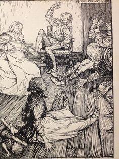 Antique Rackham 1908 Book Illustration Down Topples She Mid Summer Nights Dream