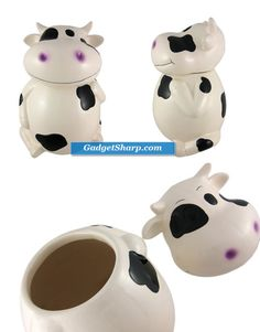 Incredibly Cute Black / White Cow Ceramic Cookie Jar [amazon]