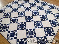 """$225 Classic Antique c1880 Indigo Blue & White Shirting OHIO Star QUILT 70x69"""" www.Vintageblessings.com"""