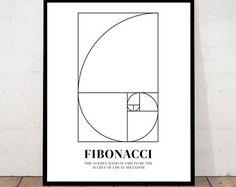 Cartel de arte de pared espiral Fibonacci, números de Fibonacci de las matemáticas, secuencia de Fibonacci, Fibonacci impresión, espiral de proporción áurea