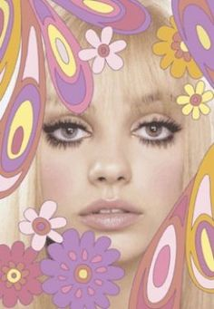 60s style Twiggy makeup. Nude lips. Fake top lashes? Slightly smokey eye. Pale pink blush. Focus is the eyes.
