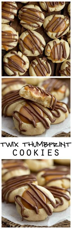 Use up what's left of your Halloween candy to make these delicious cookies for your next holiday get-together. Twix Thumbprint Cookies are all of the goodness of a Twix packed into these cookies! Shortbread, caramel, and drizzled in chocolate. Yummy Recipes, Baking Recipes, Sweet Recipes, Dessert Recipes, Wedding Cookie Recipes, Wedding Cookies, Bread Recipes, Recipies, Yummy Cookies