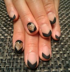 Wedding nails...maybe with white glitter and black heart outline?
