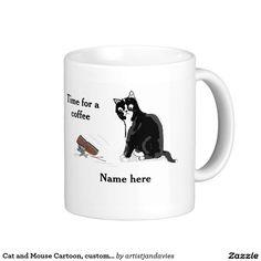 Cat and Mouse Cartoon, customizable, add name Coffee Mug