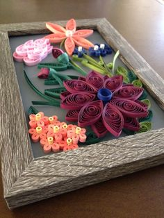Quilled Flower Arrangement in Frame Paper Quilling Art