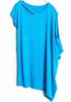 Blue Asymmetrical Short Sleeve Hollow Loose T-Shirt