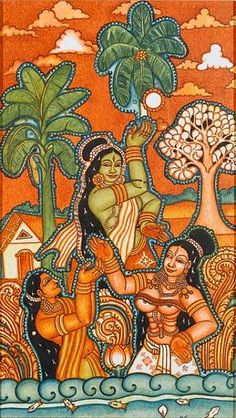 - Kerala Mural Painting, India Painting, Silk Painting, Indian Artwork, Indian Folk Art, Mural Art, Murals, Sand Art, Fashion Painting