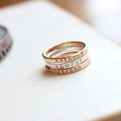 Skinny name rings with kids names, stacking name rings, personalized name rings, rose gold, yellow gold, sterling silver Mixed Metal Stacking Ring Set - Tag...You're It