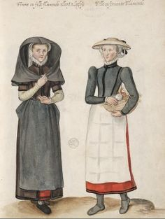Flemish women of differing class, from Lucas de Heere's Théâtre de tous les peuples et nations de la terre avec leurs habits et ornemens divers, tant anciens que modernes, diligemment depeints au naturel par Luc Dheere peintre et sculpteur Gantois. Full PDF at http://search.ugent.be/meercat/x/all-view?q=rug01:000794288