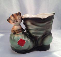 Vintage ceramic kitty cat on boot planter figurine