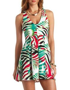 printed strappy back plunging skater dress