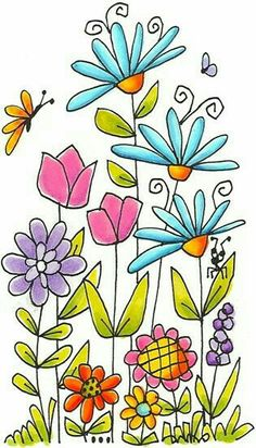 63 Ideas For Flowers Drawing Doodles Coloring Pages Doodle Drawings, Doodle Art, Easy Drawings, Art Floral, Watercolor Flowers, Watercolor Art, Drawing Flowers, Flower Garden Drawing, Flower Drawings