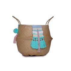 Seagrass belly basket with sky blue, turquoise, white pink wool weave (57 CAD) ❤ liked on Polyvore featuring home, home decor, small item storage, wool basket, colored woven baskets, woven basket, sea grass baskets and picnic basket