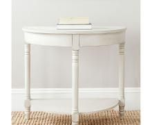 With a design based on classic Georgian architecture, the Randell Console Table by Safavieh is updated for contemporary or transitional homes with simplified lines. The demilune shape is easy to fit in smaller spaces such as a hallway. End Tables, A Table, Consoles, Wooden Console, Entryway Console, Foyer, Half Moon Table, French Cottage Style, Grey
