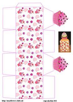 Cardboard Box Crafts, Paper Crafts Origami, Diy Eid Cards, Cajas Silhouette Cameo, Paper Box Template, Printable Box, Paper Cupcake, Diy Cupcake, Box Patterns
