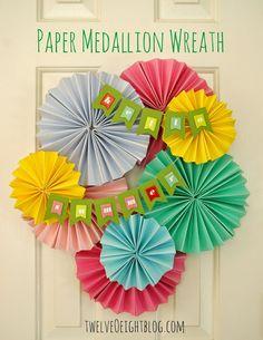 Hello Summer! Paper Wreath  Get supplies at Flower Factory www.flowerfactory.com