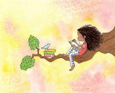 New African Children Illustration Hair Art Ideas African American Girl, American Art, 7 Arts, Illustration Mode, Reading Art, Girl Reading, Brunette Girl, Hair Art, Blue Bird