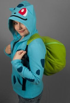 Bulbasaur Hoodie And Backpack In One. I kinda really want this