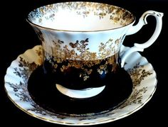 E Royal Albert Regal Series Black Cup Saucer C1970s