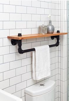 awesome Industrial towel rack shelf, Rustic Bathroom Accessory Black Iron Pipe, wall hanging, industrial decor, bathroom decor home Industrial Bathroom, Rustic Bathrooms, Industrial House, Industrial Interiors, Bathroom Interior, Industrial Furniture, Bathroom Ideas, Bathroom Shelves, Industrial Shelving