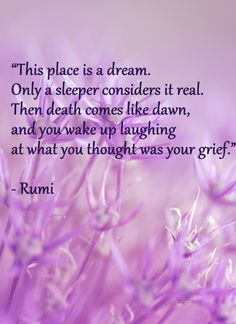 This place is a dream. Only a sleeper considers it real. Then death comes like dawn, and you wake up laughing at what you thought was your grief. - Rumi  #poetry #quotes