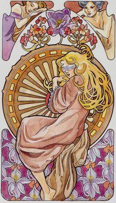 X - La roue de la fortune - Tarot art nouveau par Antonella Castelli