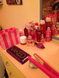 I love my girly stuff! Victoria secret, naked palette, escada, cacharel, flat Iron, la vie est belle and more!