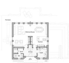 """Grundriss Erdgeschoss: Plusenergiehaus """"Life"""" von Viebrockhaus – Designed by Jette Joop"""