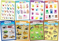 """Amazon.com : 8 Educational Posters for Toddlers - Includes: Alphabet, Numbers, Shapes, Colors, Cars, Construction Zone, Farm & Wild Animals - Laminated Posters for Kids - Size 17x22"""" : Office Products"""