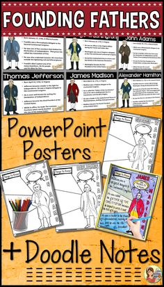Founding Fathers Powerpoint Posters and Doodle Notes! Fun way to present social studies in the classroom. #socialstudiesforkids #USConstitution #declarationofindependence