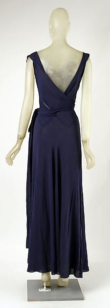 Evening dress (image 2 - back) | Madeleine Vionnet | French | 1937 | silk | Metropolitan Museum of Art | Accession Number: 1979.344.2