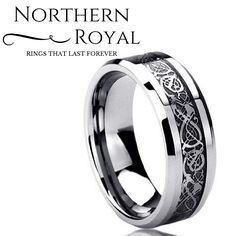 Tungsten carbide wedding ring with celtic inlay design! I absolutely love this ring.