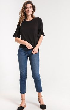 b77620e2d6471 Z Supply the premium sleek jersey ruffle tee zt183433
