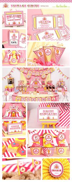 ♥ Vintage Circus Birthday Party Theme ♥  Shop Them Here:  https://www.etsy.com/shop/LeeLaaLoo/search?search_query=b78&order=date_desc&view_type=gallery&ref=shop_search  ♥♥♥ Vendor Credits:  ♥ Party Styling: LeeLaaLoo - www.leelaaloo.com  ♥ Party Printable Design & Decoration: LeeLaaLoo - www.etsy.com/shop/leelaaloo  Our YouTube channel for some DIY tutorials here: http://www.youtube.com/leelaaloopartyideas