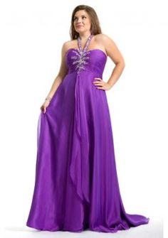 Top Halter Neckline A-line Full Length Regency Chiffon Plus Size Evening  Dresses Sleeveless Pretty 804beb7d644a