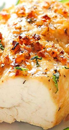 Baked Garlic Brown Sugar Chicken ~ Chicken in a delicious sauce with garlic, which are baked until almost caramelized,
