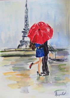 Original watercolor paintingcouple paintingParis