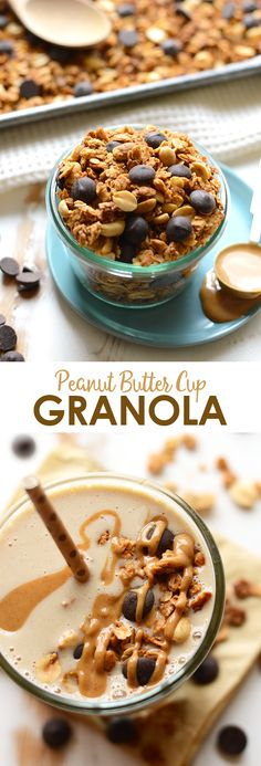 If you're peanut butter cup obsessed, then this peanut butter cup granola is for you! Top your smoothie or Greek yogurt with it for the most delicious breakfast ever!