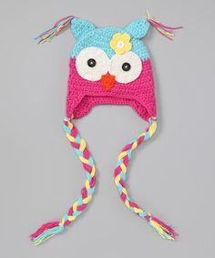 Take a look at the Sky Blue & Pink Owl Earflap Beanie on #zulily today!