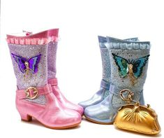 Fairytale Princess Frozen Movie Elsa inspired Girls Blue and Pink Purple Glitter Jeweled Dress Boots with Low Heel. Perfect for Fall Winter Flower Girl Shoes, Girls Dress Shoes, Dress With Boots, Purple Glitter, Pink Purple, Blue, Estilo Popular, Frozen Movie, Princess Shoes
