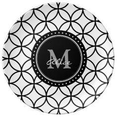 Motif abstrait élégant blanc noir de cercles assiettes en porcelaine