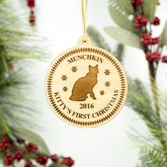 Cat Christmas Ornament  Custom Engraved by LadyMaggies on Etsy