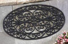 Oval Scroll Outdoor Rubber Door Mat~Collections Etc