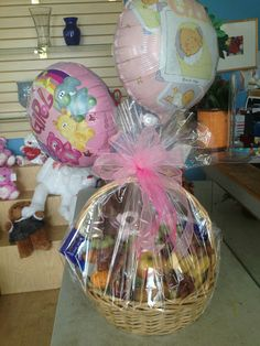 A basket of goodies sent to niece Sammy and baby Ella