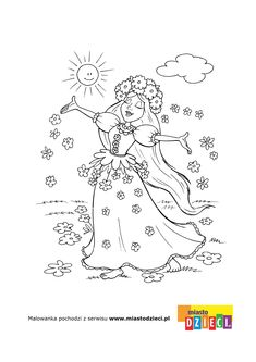 Kolorowanka - Pani Wiosna Diy And Crafts, Arts And Crafts, Paper Crafts, Colouring Pages, Coloring Books, Coloring For Kids, Adult Coloring, Diy For Kids, Crafts For Kids