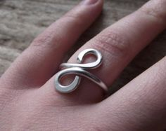 Silver Aluminum Jewelry Wire Wrap Adjustable Ring Handmade -'Infinity in Silver""