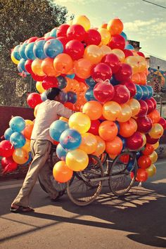 Love the mass of colorful balloons for a special event. Later to be used for a game or to let each child go home with one. Even for a scavenger hunt find the special yellow balloon for clue one ( have them tied individually all over the party)