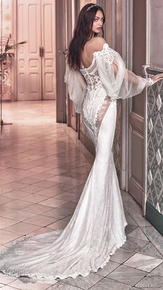 galia lahav spring 2018 bridal long bishop sleeves off the shoulder sweetheart neckline heavily embellished bodice vintage fit and flare wedding dress sweep train (thelma) bv -- Galia Lahav Spring 2018 Wedding Dresses